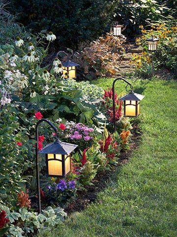 Идея зонирования сада фонариками
