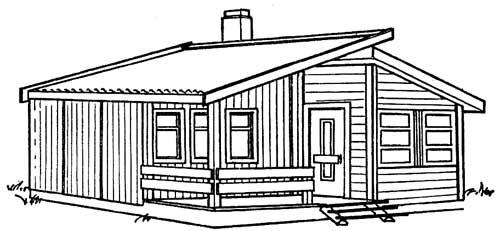 Проект одноэтажного дачного дома со