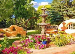 Роскошный фонтан на даче