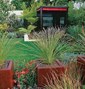 Растения в квадратных кадках