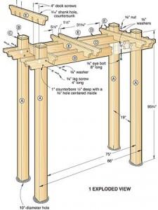 Чертеж схема деревянной арки перголы