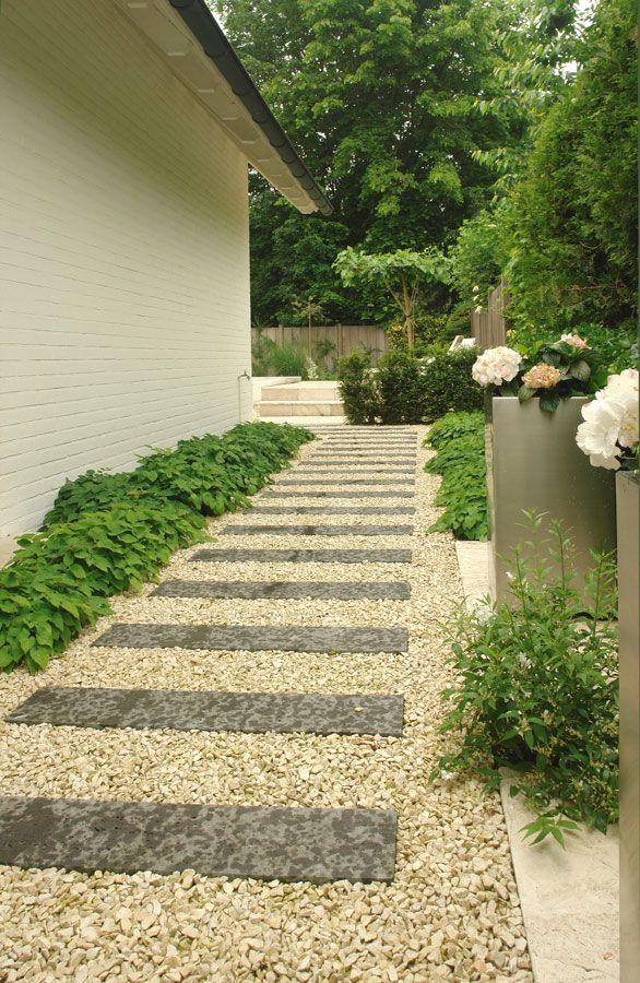 Идея гравийной дорожки с прямоугольными бетонными блоками