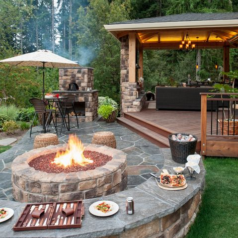Patio deck lighting ideas with fireplace