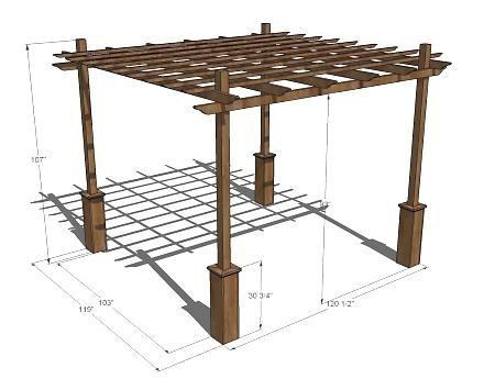 Схема чертеж деревянной перголы с размерами