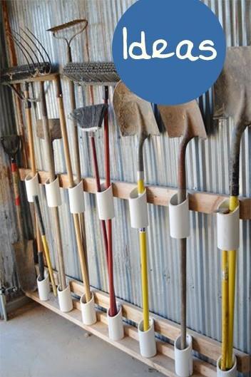 Стойка для хранения лопат вил и грабель на даче