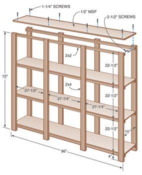 Чертеж простого деревянного стеллажа