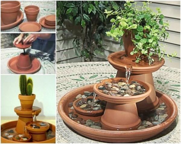 Пример создания фонтана из глиняных горшков