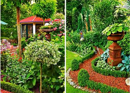 красивый сад - цветы и беседка