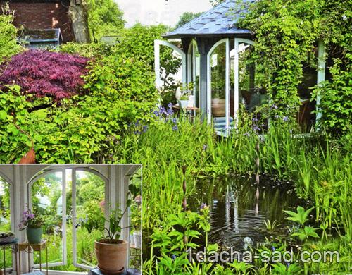 красивый сад с прудом фото