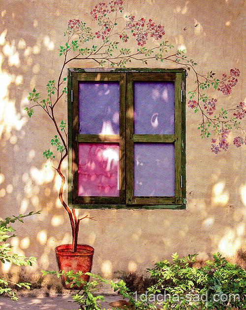 роспись стены дома растительным узором
