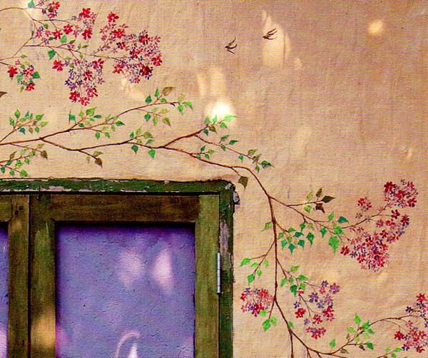 роспись стены - фрагмент растительного узора