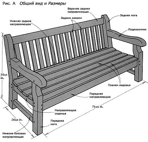 Чертеж летней деревянной скамейки со спинкой