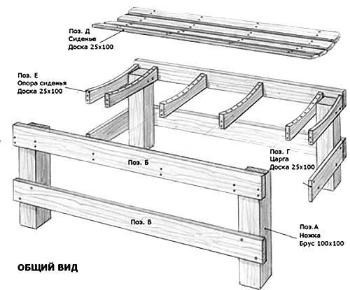 Чертеж дачной скамейки из дерева