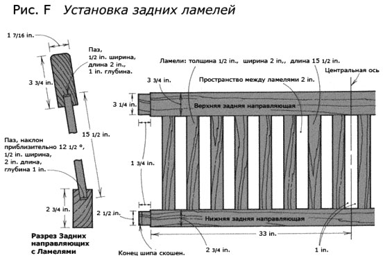 Установка задних ламелей скамейки со спинкой