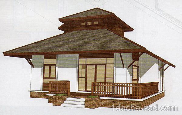 Проект дома 8 х 8 с мансардой вид спереди