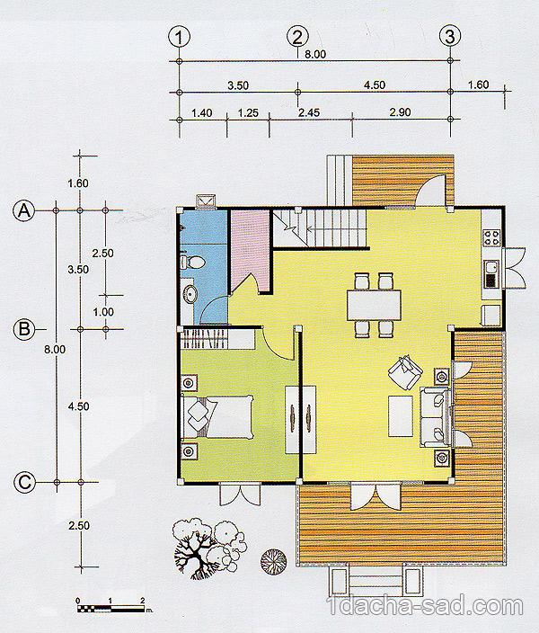 Проект дома 8 х 8 с мансардой план 1 этажа