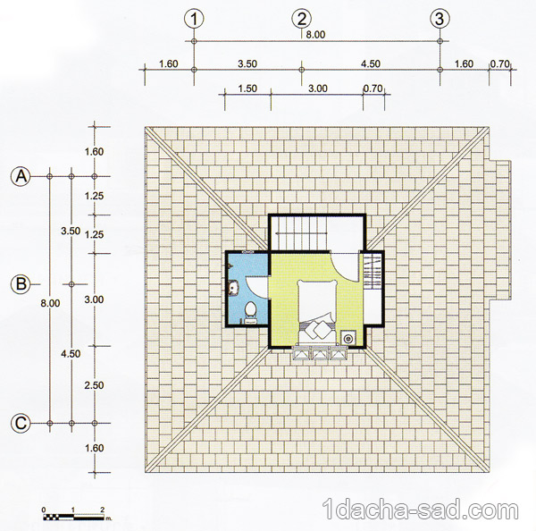 Проект дома 8 х 8 с мансардой план мансарды
