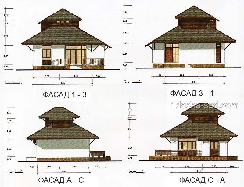Проект дома 8 х 8 с мансардой план фасадов и высота