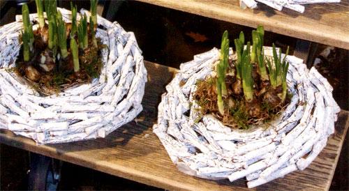 Декор цветочных горшков веточками дерева