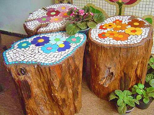 Мозаика в мощении в саду 1