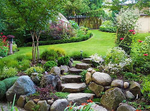 Каменные ступени в рокарии