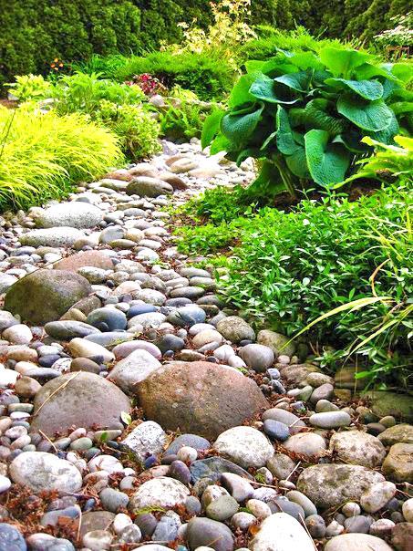 Красивый сухой ручей - композиция из камней