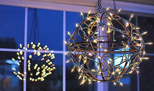 Как сделать себе светильник из елочной гирлянды