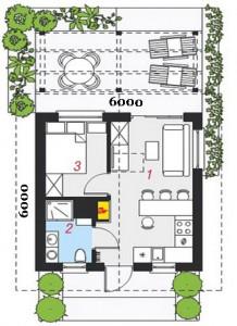 планировка дома 6 на 6 метров