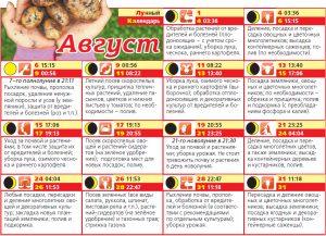 Календарь дачника Август 2017